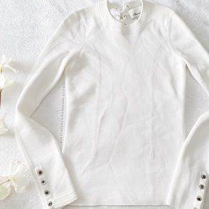3.1 Phillip Lim Lace Up Neck Thermal Style Top